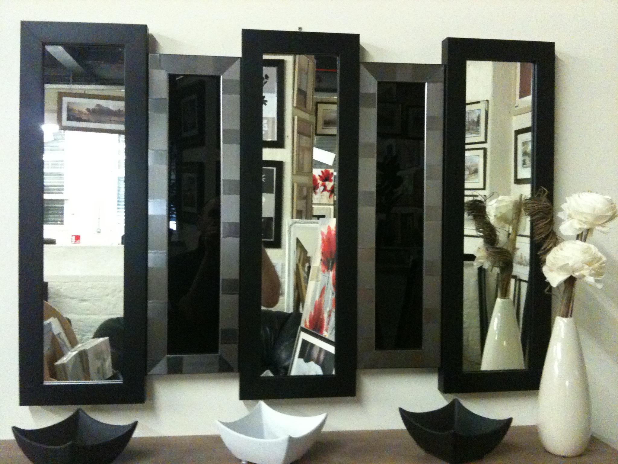 New Black Silver 5 Panel Wall Mirror Glass 105 X 76 Cm