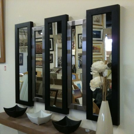 NEW BLACK/SILVER 5 PANEL WALL MIRROR 105 X 76 CM