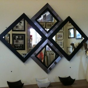 NEW MODERN BLACK/SILVER DIAMOND WALL MIRROR 115 X 86 CM