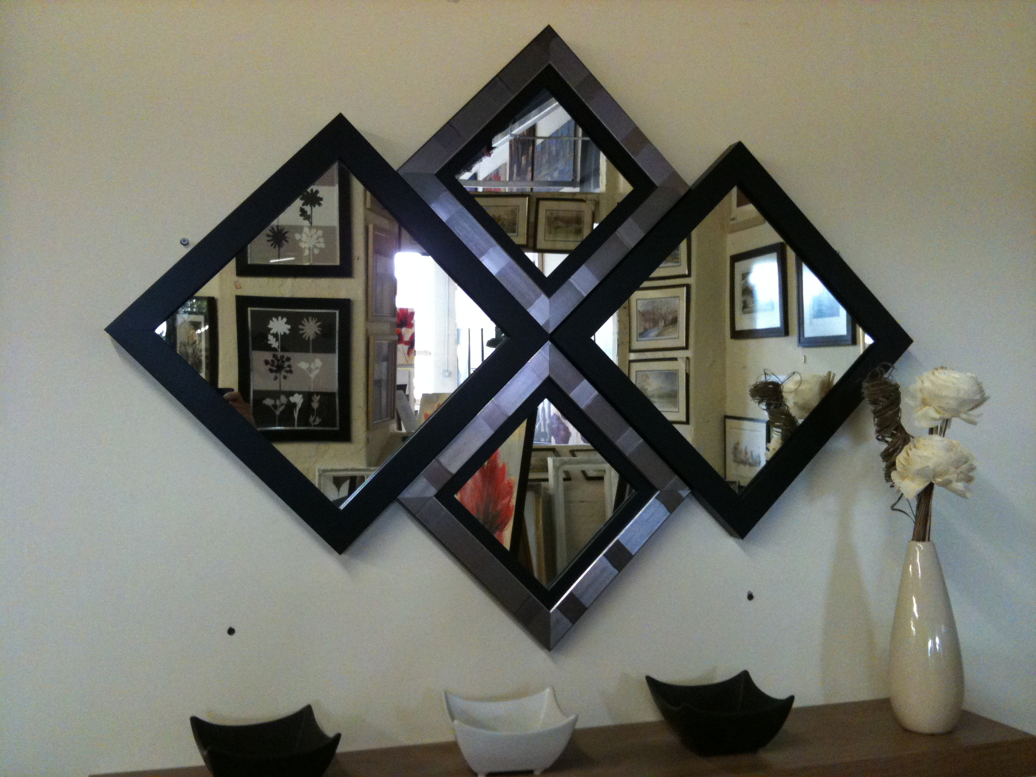 NEW MODERN BLACK/SILVER DIAMOND WALL MIRROR 115 X 86 CM